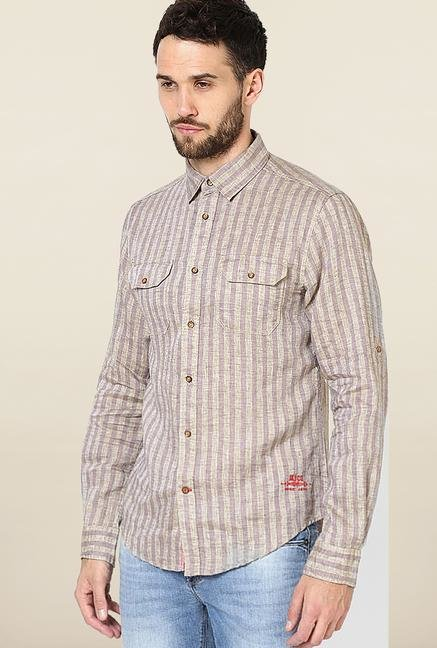 Jack & Jones Purple Striped Casual Shirt