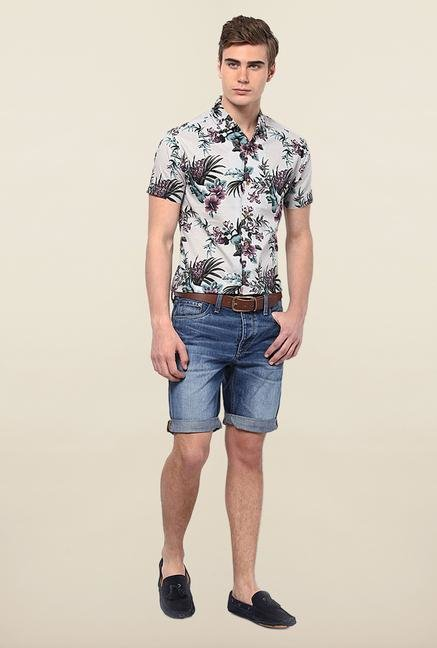 Jack & Jones Off White Floral Printed Casual Shirt