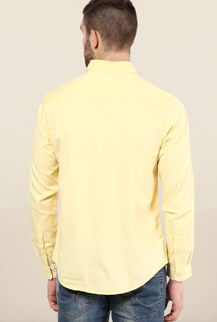 Jack & Jones Yellow Solid Slim Fit Casual Shirt