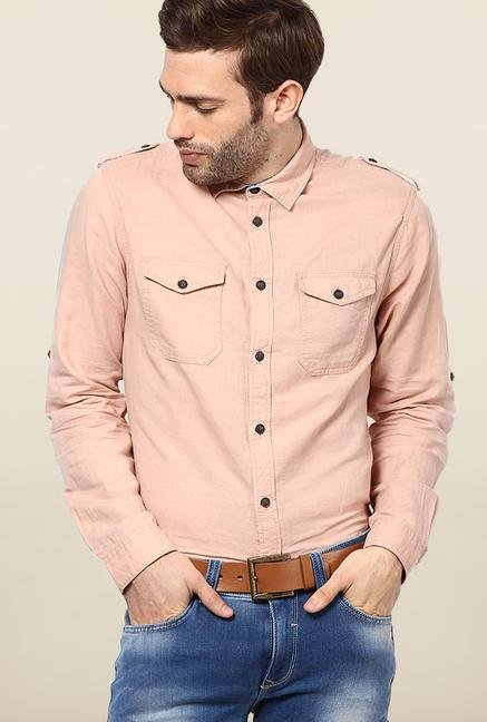 Jack & Jones Peach Solid Casual Shirt