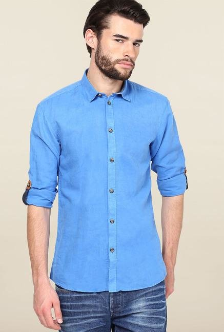 Jack & Jones Blue Solid Casual Shirt