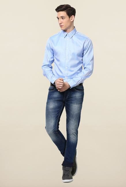 Jack & Jones Blue Self Printed Cotton Casual Shirt