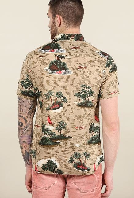 Jack & Jones Beige Printed Slim Fit Shirt