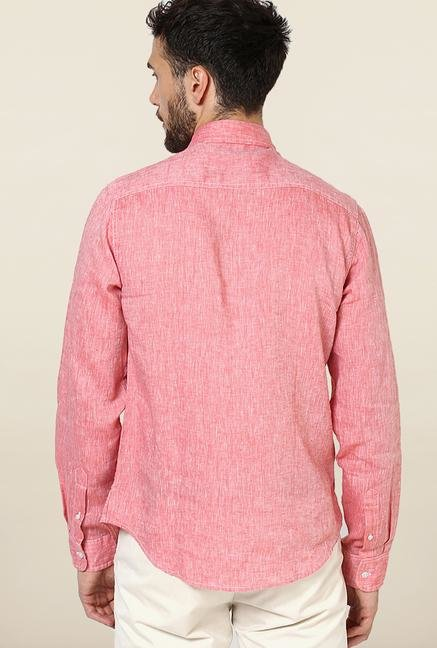 Jack & Jones Pink Solid Linen Casual Shirt
