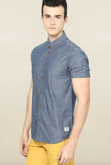 Jack & Jones Grey Button Down Solid Casual Shirt