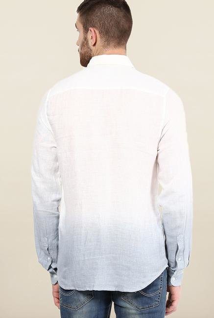 Jack & Jones White And Blue Ombre Casual Shirt