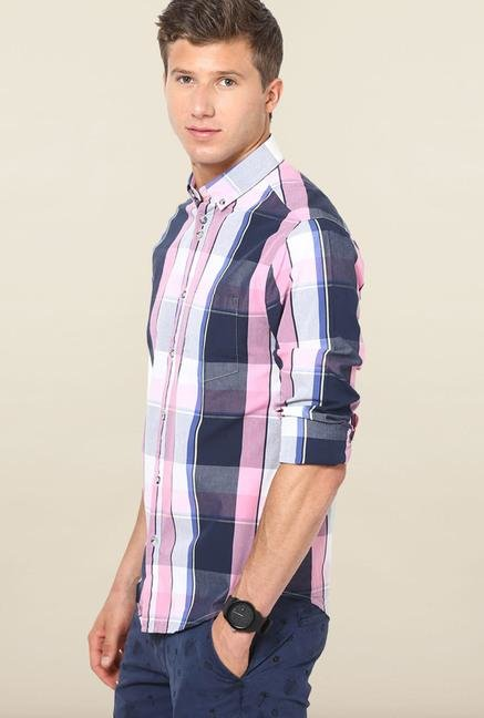 Jack & Jones Blue And Pink Checks Casual Shirt