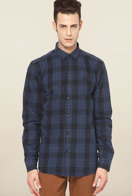 Jack & Jones Navy Checks Slim Fit Casual Shirt