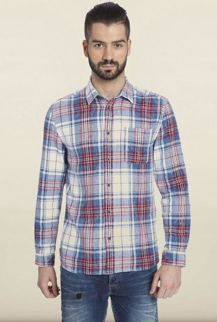 Jack & Jones White Checks Casual Shirt