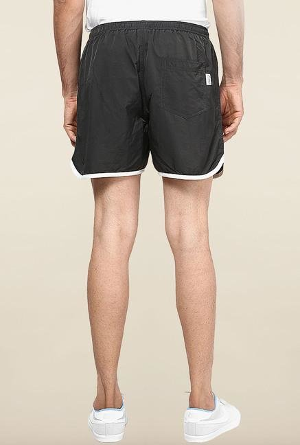 Jack & Jones Black Solid Sports Shorts