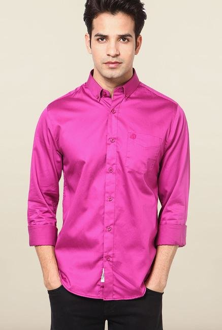 Jack & Jones Neon Pink Solid Casual Shirt