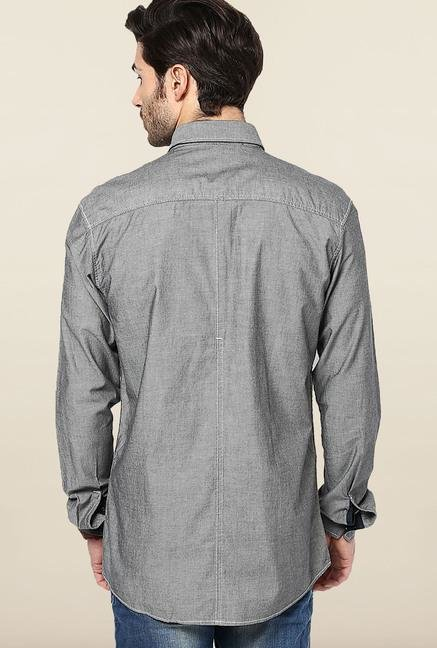 Jack & Jones Grey Solid Casual Shirt