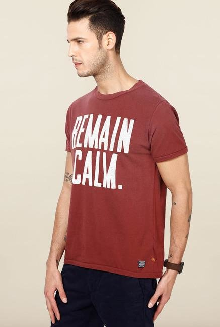 Jack & Jones Maroon Printed Crew Neck T-Shirt