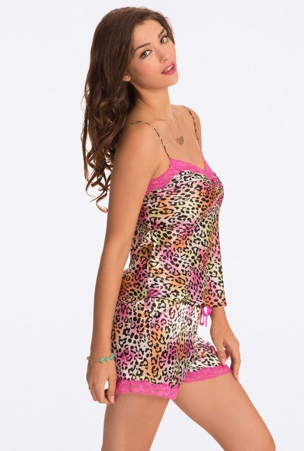 Pretty Secrets Multicolor Animal Print Cami & Shorts Set