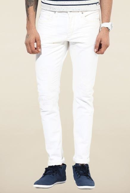 Jack & Jones White Distressed Slim Fit Jeans