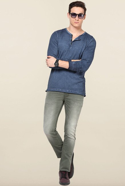 Jack & Jones Blue Solid Henley T-Shirt