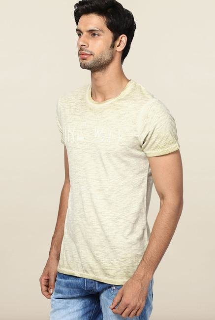 Jack & Jones Beige Cotton Printed T-Shirt