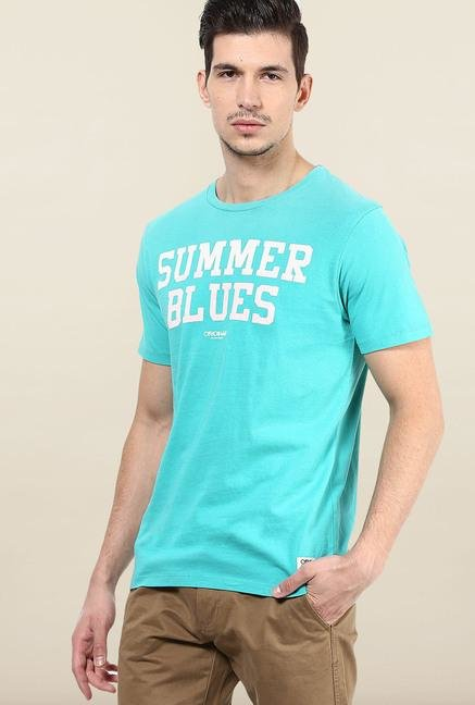 Jack & Jones Aqua Blue Printed T-Shirt