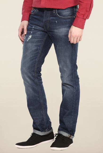 Jack & Jones Blue Distressed Regular Fit Jeans
