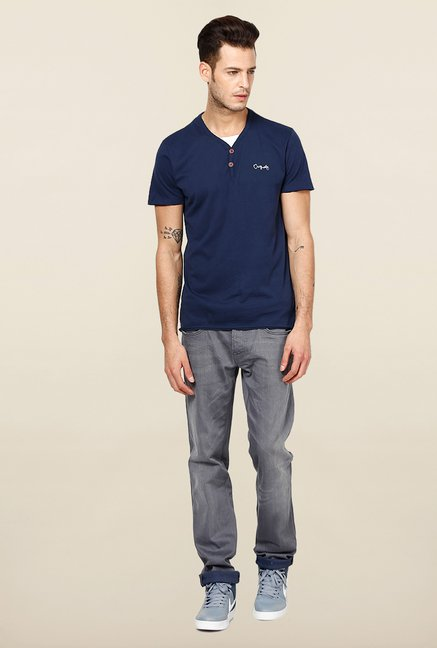 Jack & Jones Navy Solid Henley T-Shirt