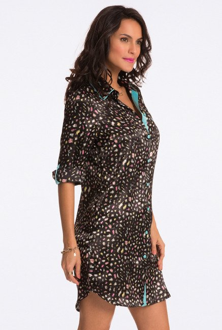 Pretty Secrets Black Animal Print Sleep Shirt