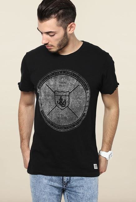 Jack & Jones Black Printed Round Neck T-Shirt