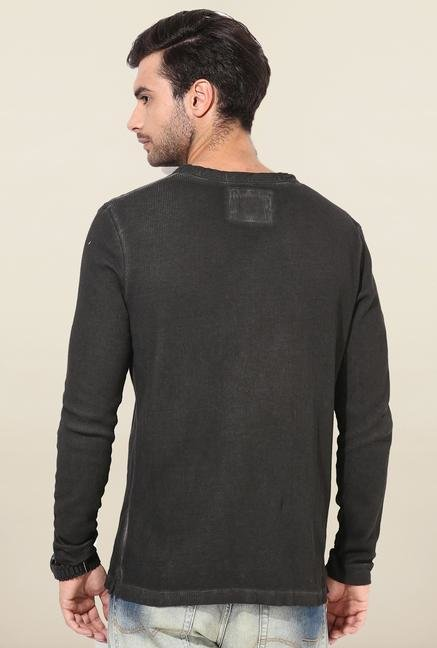 Jack & Jones Dark Grey Solid Crew Neck T-Shirt