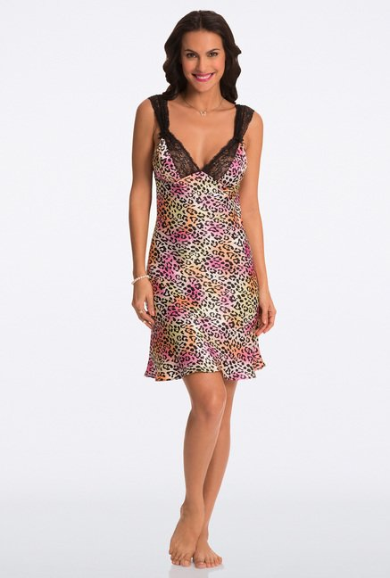 Pretty Secrets Multicolor Animal Print Chemise