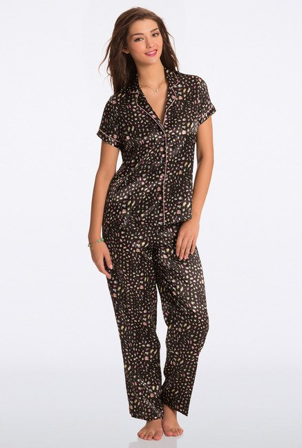Pretty Secrets Black Animal Print Top & Pyjama Set