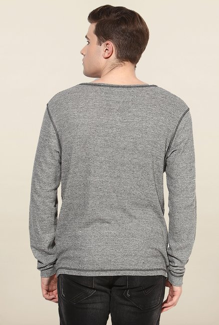 Jack & Jones Grey Solid Henley T-Shirt