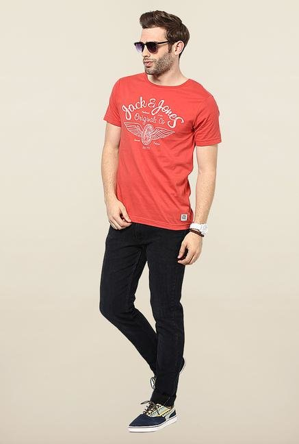 Jack & Jones Orange Printed Cotton T-Shirt