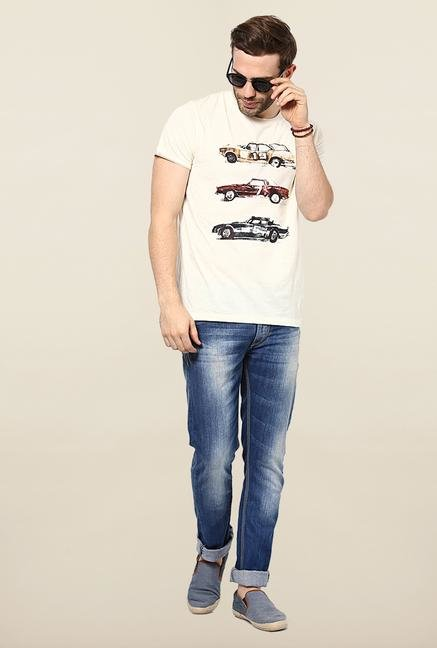 Jack & Jones White Printed Slim Fit T-Shirt