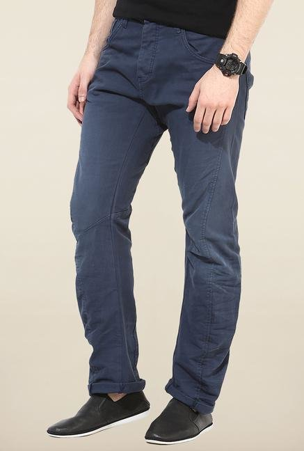 Jack & Jones Blue Solid Regular Fit Chinos