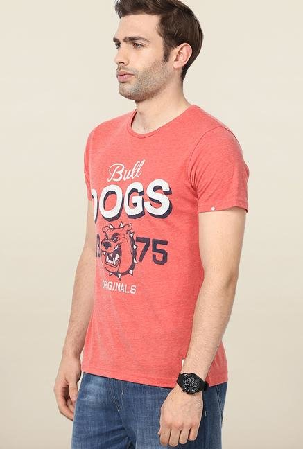 Jack & Jones Red Printed Round Neck T-Shirt