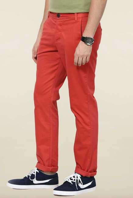 Jack & Jones Red Solid Chinos