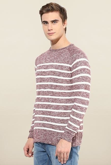 Jack & Jones Maroon Striped T- Shirt