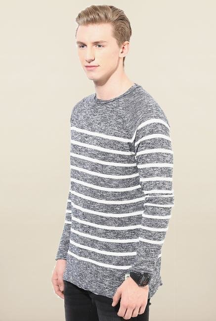 Jack & Jones Grey Striped T- Shirt
