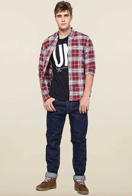 Jack & Jones Blue Mid Rise Solid Jeans