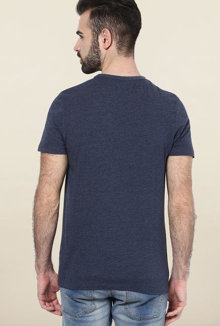 Jack & Jones Navy Printed Cotton T-Shirt