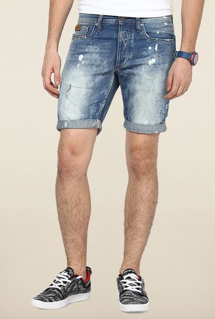 Jack & Jones Blue Distressed Cotton Shorts
