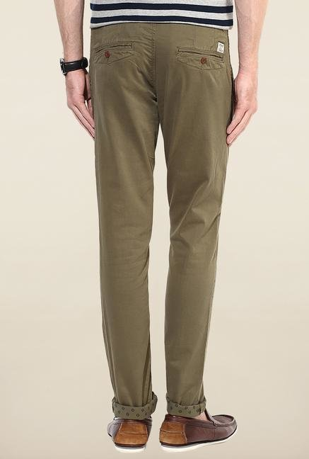 Jack & Jones Green Solid Cotton Chinos