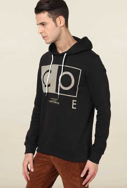 Jack & Jones Black Printed Hoodie