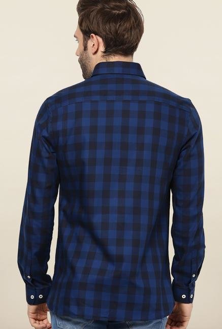 Jack & Jones Blue Checks Slim Fit Casual Shirt