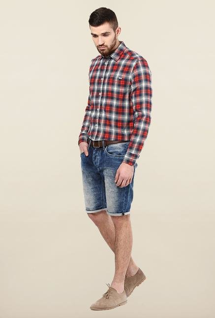 Jack & Jones Red Checks Slim Fit Casual Shirt