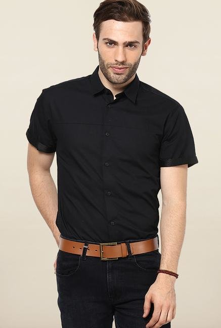 Jack & Jones Black Solid Slim Fit Casual Shirt