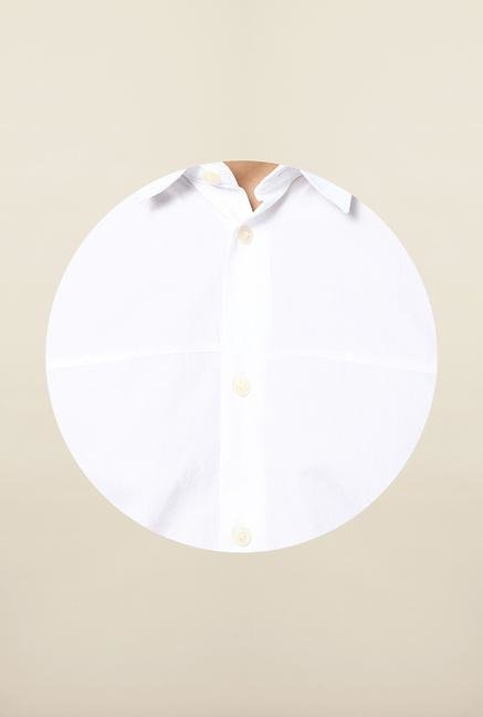 Jack & Jones White Solid Short Sleeves Casual Shirt