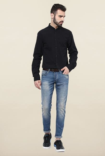 Jack & Jones Black Solid Button Down Casual Shirt