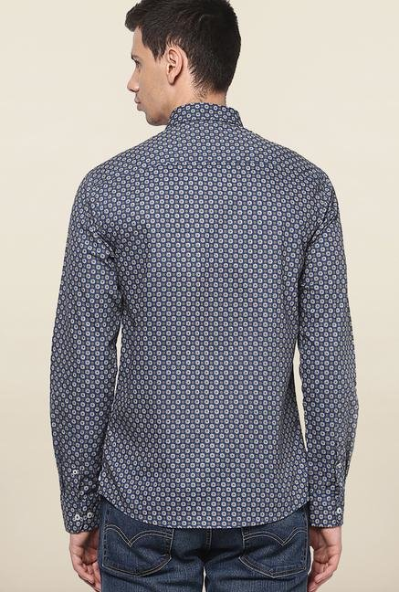 Jack & Jones Navy Printed Slim Fit Casual Shirt