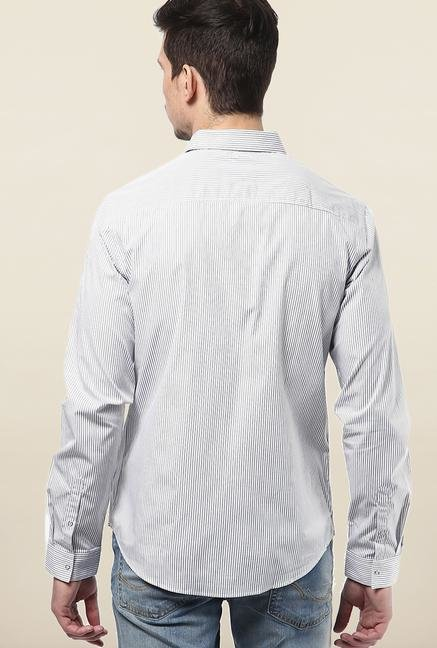 Jack & Jones White Pin Stripes Slim Fit Casual Shirt