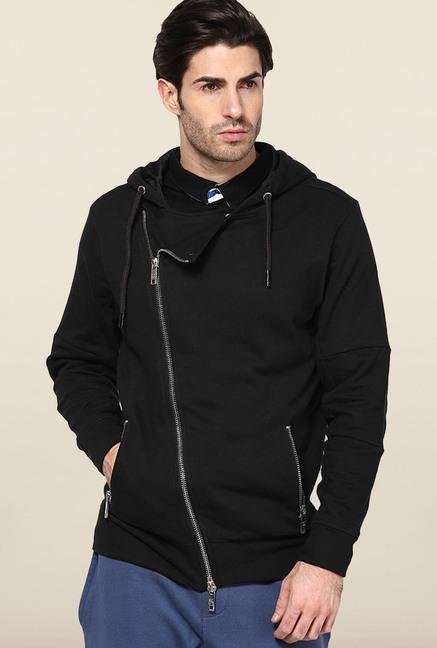 Jack & Jones Black Solid Hoodie